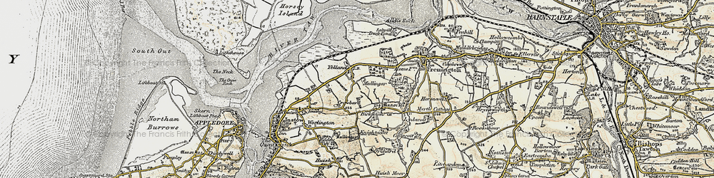 Old map of Yelland in 1900