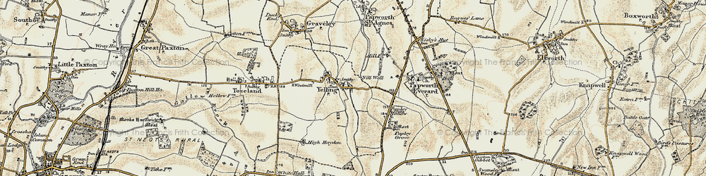 Old map of Yelling in 1898-1901
