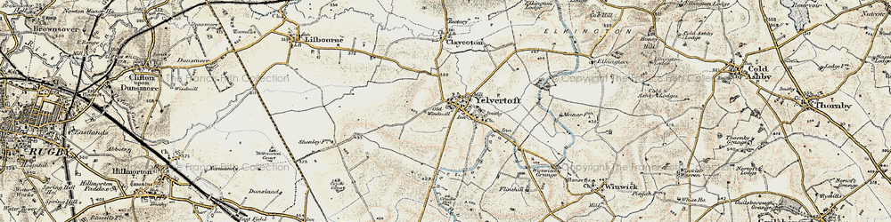 Old map of Yelvertoft in 1901-1902