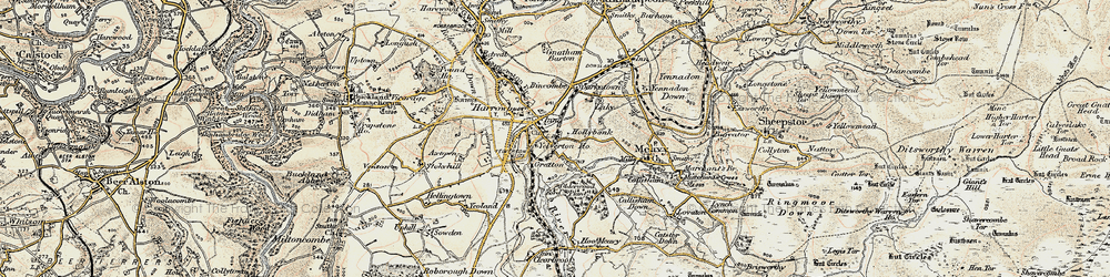 Old map of Yelverton in 1899-1900