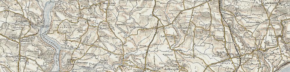 Old map of Yerbeston Mountain in 1901-1912
