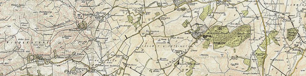 Old map of Yetlington Lane in 1901-1903
