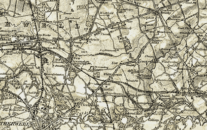 Old map of Yett in 1904-1905