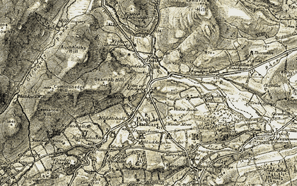 Old map of Yetts o' Muckhart in 1904-1908