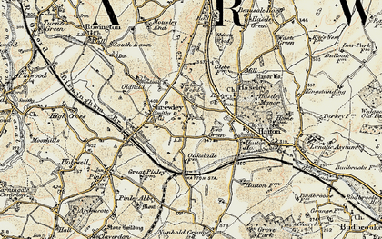 Old map of Yew Green in 1901-1902