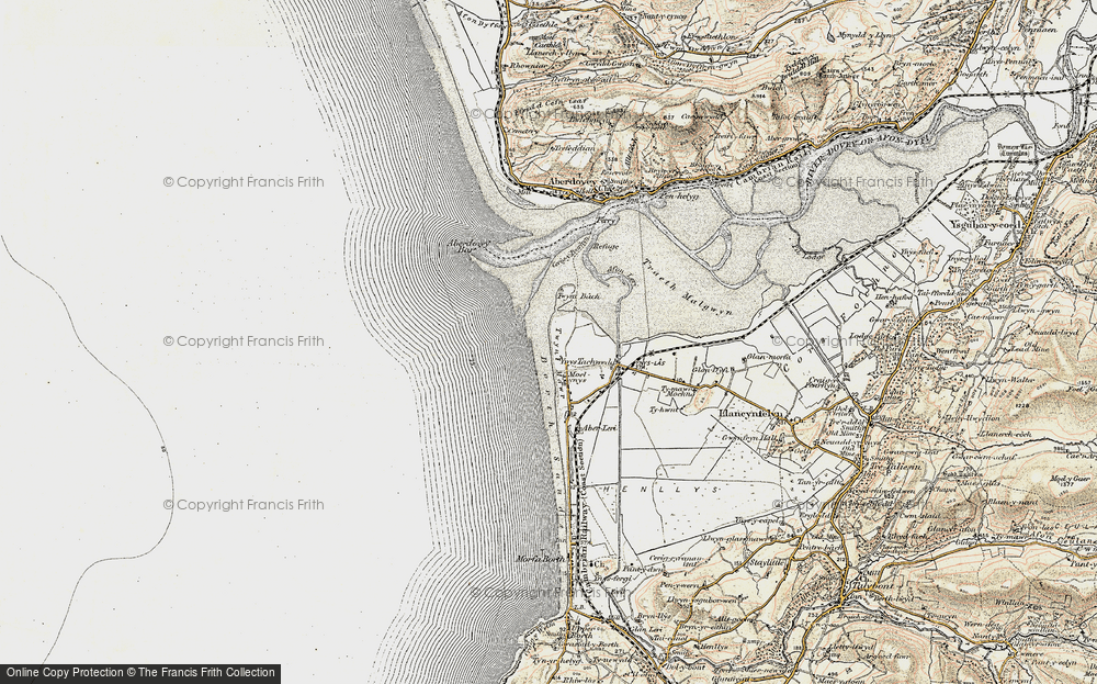 Old Map of Historic Map covering Aberdovey Bar in 1902-1903
