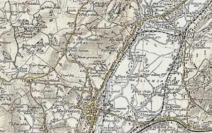 Old map of Ynysforgan in 1900-1901