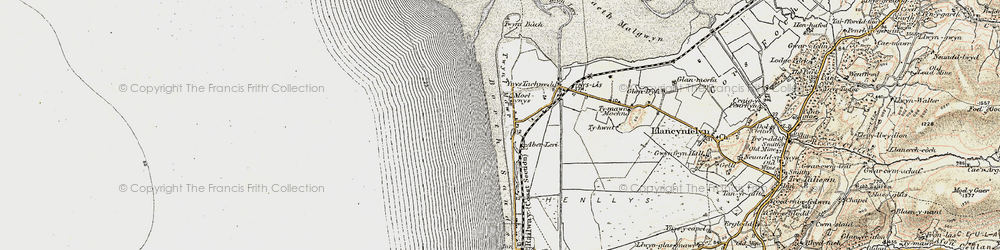 Old map of Ynyslas in 1902-1903