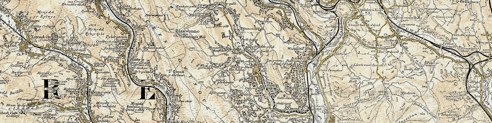 Old map of Y Ffrwd in 1899-1900