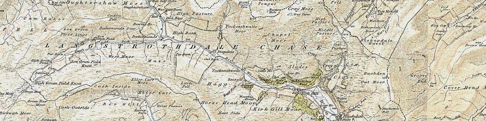 Old map of Yockenthwaite Moor in 1903-1904