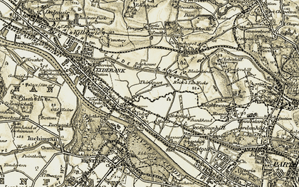Old map of Yoker in 1904-1905