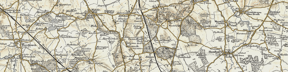 Old map of Yorton Heath in 1902