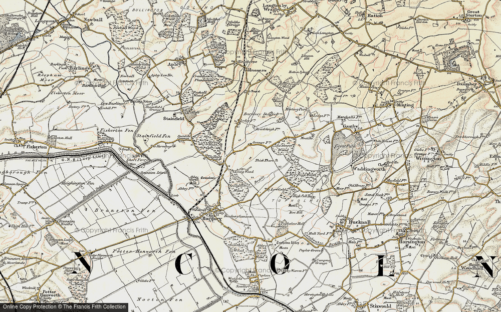Old Map of Historic Map covering Austacre Wood in 1902-1903
