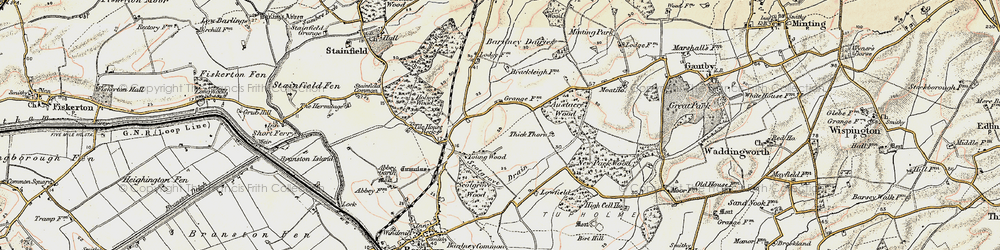 Old map of Tile House Beck in 1902-1903