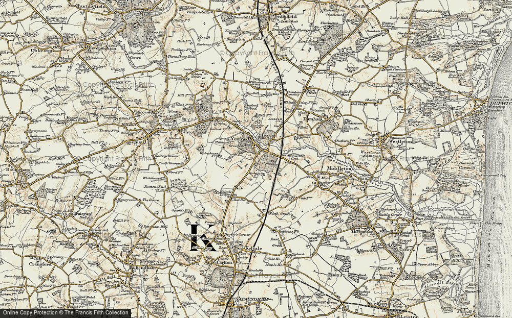 Old Map of Yoxford, 1901 in 1901