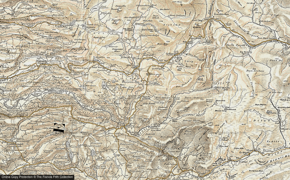 Old Map of Historic Map covering Afon Merin in 1901-1903