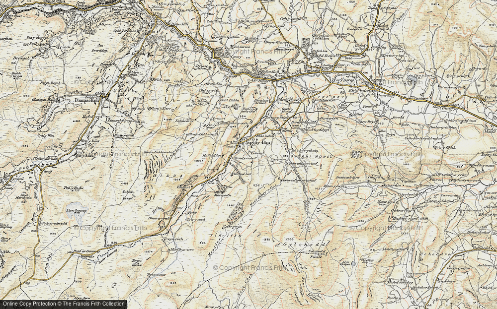 Old Map of Historic Map covering Afon Caletwr in 1902-1903
