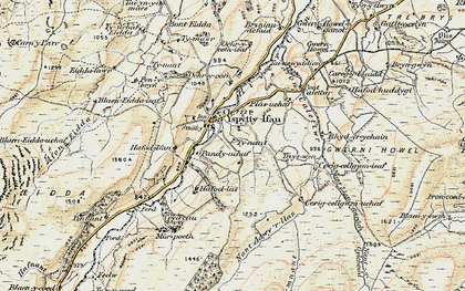 Old map of Afon Caletwr in 1902-1903