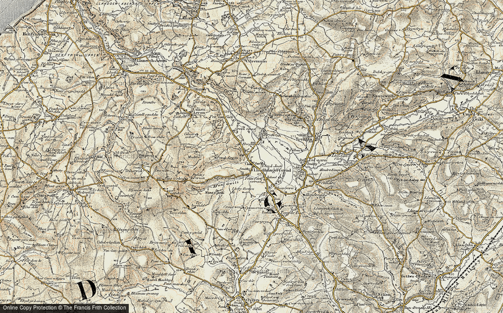 Old Map of Historic Map covering Allt y Fron in 1901-1903