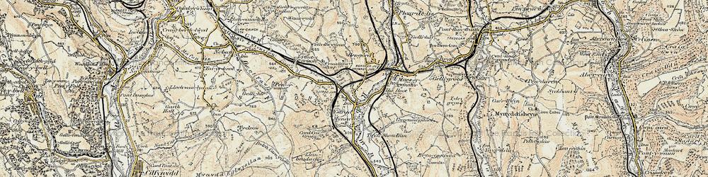 Old map of Ystrad Mynach in 1899-1900