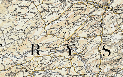 Old map of Ystrad Uchaf in 1902-1903