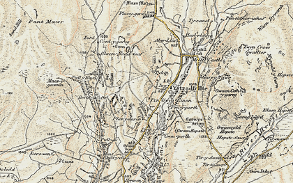Old map of Ystradfellte in 1900