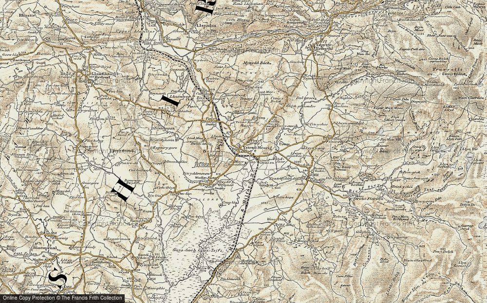 Old Map of Historic Map covering Afon Meurig in 1901-1903