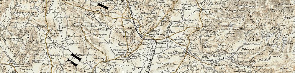 Old map of Afon Meurig in 1901-1903