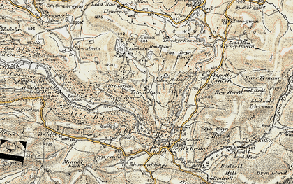 Old map of Allt-y-Gigfran in 1901-1903