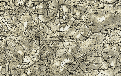 Old map of Ythanwells in 1908-1910
