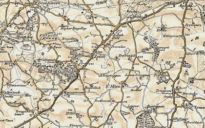 Old map of Zelah in 1900