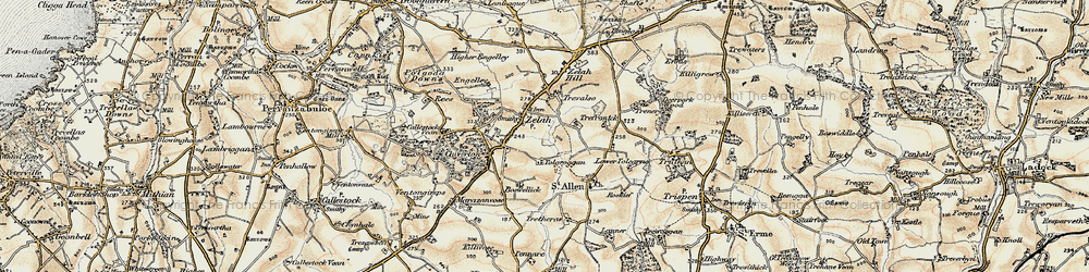 Old map of Zelah Hill in 1900