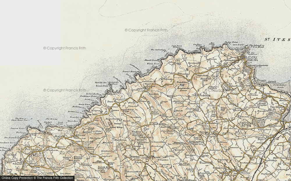 Old Map of Zennor, 1900 in 1900