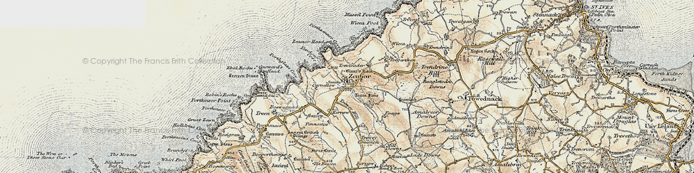 Old map of Zennor in 1900