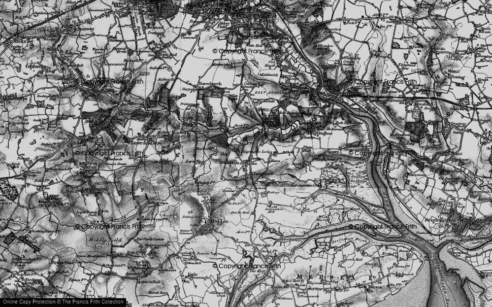 Old Map of Historic Map covering Abberton Manor in 1896