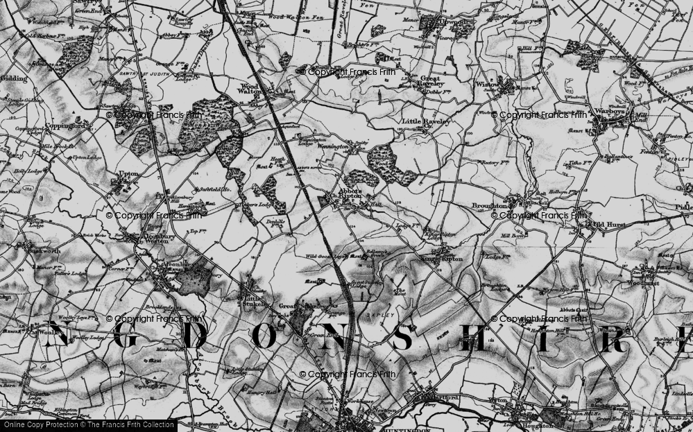 Old Map of Abbots Ripton, 1898 in 1898