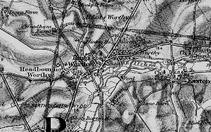 Old map of Abbots Worthy in 1895