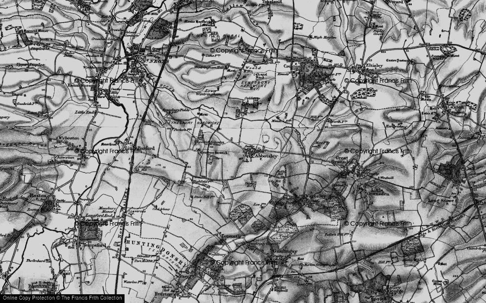 Old Map of Abbotsley, 1898 in 1898