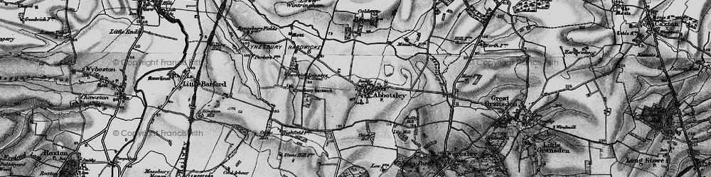 Old map of Abbotsley in 1898
