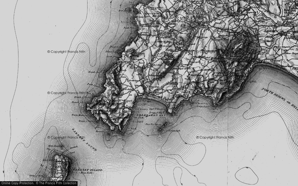 Old Map of Historic Map covering Ynys Gwylan-bâch in 1898