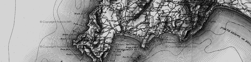 Old map of Aberdaron in 1898