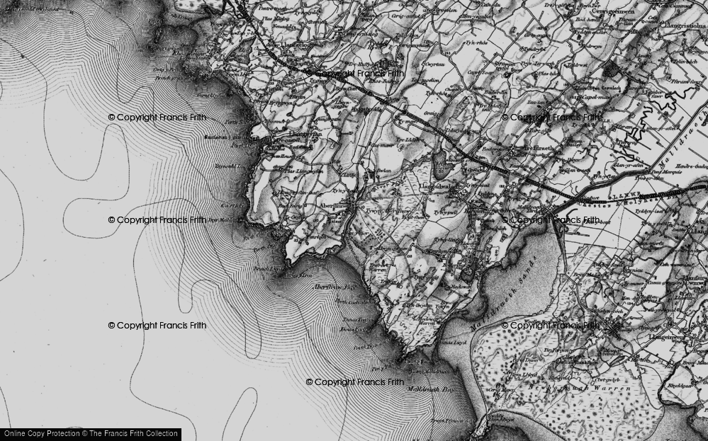 Old Map of Historic Map covering Afon Ffraw in 1899