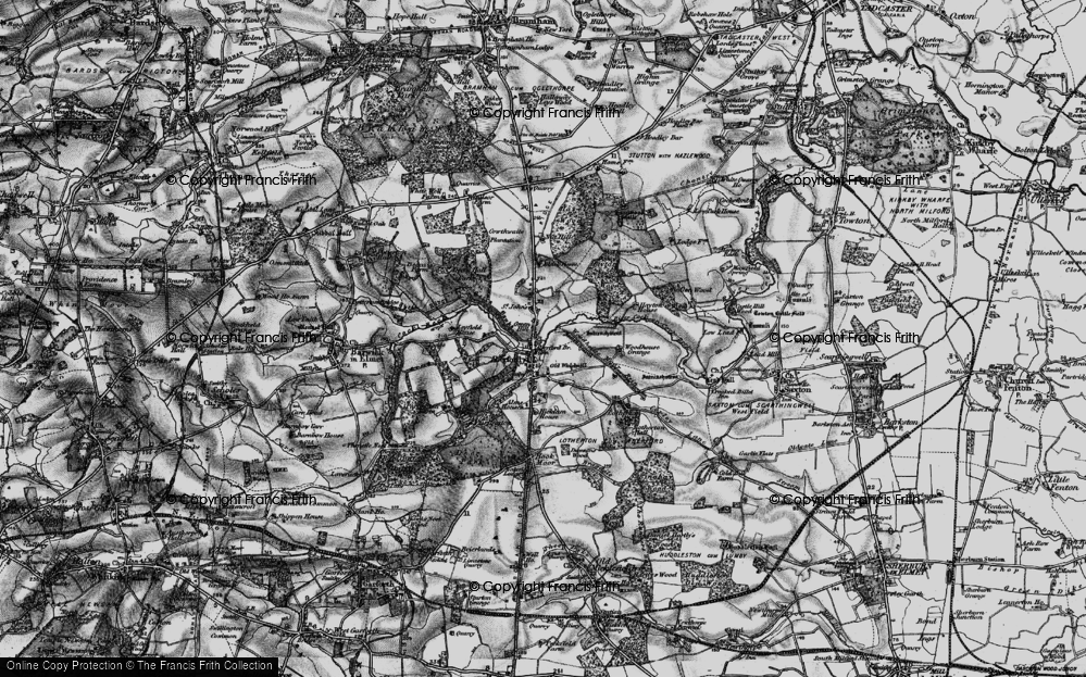 Old Map of Aberford, 1898 in 1898