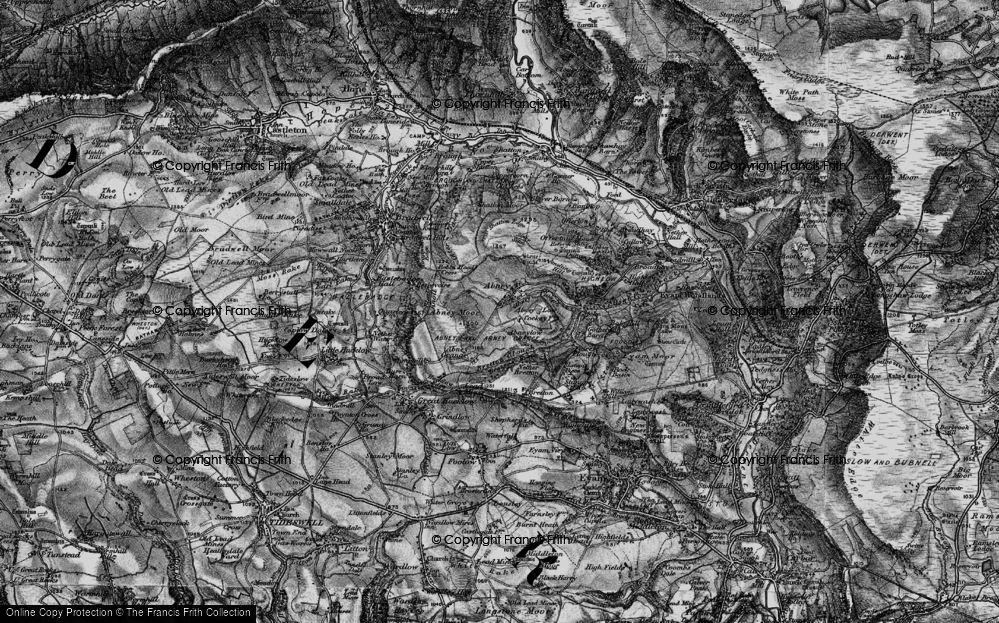 Old Map of Historic Map covering Abney Clough in 1896