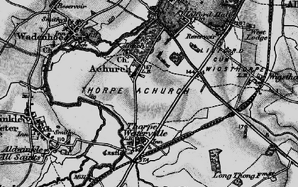 Old map of Achurch in 1898