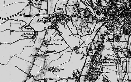 Old map of Acomb in 1898