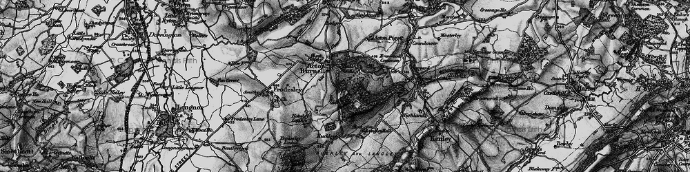 Old map of Acton Burnell in 1899