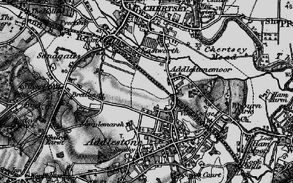 Old map of Addlestonemoor in 1896