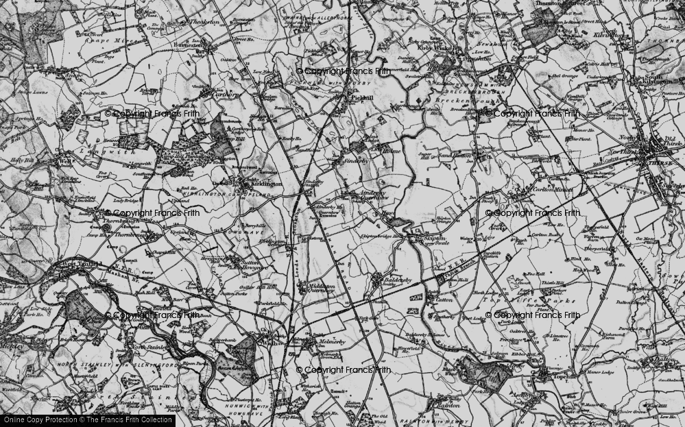 Old Map of Ainderby Quernhow, 1898 in 1898
