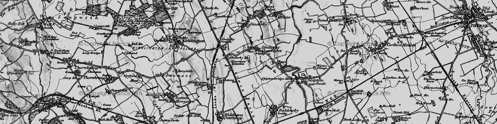Old map of Ainderby Quernhow in 1898
